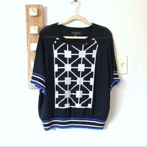 Eloquii Short Sleeve Black Geometric Knit Sweater